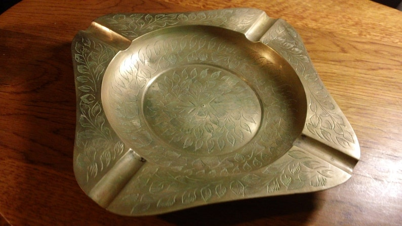 Vintage 7.5 Square Brass Ashtray with etched Floral Design