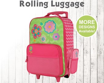 Flower Rolling Luggage, Stephen Joseph Kids Luggage, Personalized Children's Suitcase, Embroidered Name, Travel Suitcase for kids,