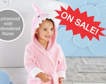 ce3c02907 CLOSE OUT Pink Shark Hooded Spa Robe, 0-9 Month Baby Bath Robe, Terry Cloth  Robe, Hooded Robe, Baby Gift, Personalized with Name,