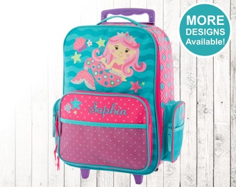 Mermaid Rolling Luggage, Stephen Joseph Kids Luggage, Personalized Children's Suitcase, Embroidered Name, Travel Suitcase for kids, Mermaid