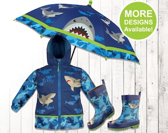 Shark Raincoat, Personalized Kids Rain Gear, Kid's Shark Rain boots, Shark Umbrella, Kids rain coat, Kids rain jacket, Kids Rain Gear