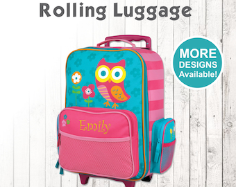Owl Rolling Luggage Stephen Joseph Kids Personalized Childrens Suitcase Embroidered Name Travel For
