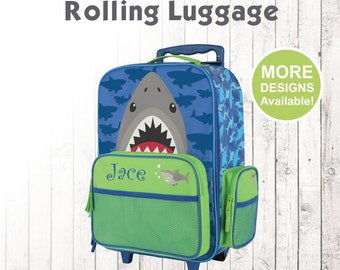 Shark Rolling Luggage for Kids, Stephen Joseph Kids Luggage, Personalized Suitcase for Boy, Embroidered Name, Shark Suitcase with Name
