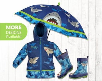 CLOSE OUT Personalized Shark Raincoat for Kids, Kids Rain Gear, Shark Rain boots for Kids, Toddler Umbrella and Rain Jacket, Shark Boots