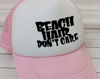 Beach Hair Don't Care, Kids Hats, Trucker Hat for Kids, Foam Mesh Hat, Youth Hat, Beach Hat, Baseball Hat for Kids, Childrens Hats, summer