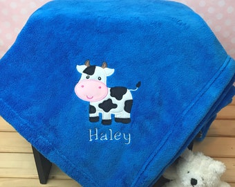 Cow Blanket Personalized with Name, Plush Throw, Cow Applique, Embroidered and Customized, Boys and Girls Soft Blanket, Farm theme