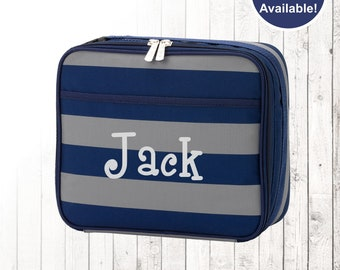 Personalized Boys Navy Stripe Lunchbox and Optional Matching Backpack with embroidered Name or Monogram, Elementary & Middle School