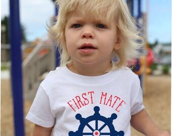 2bae37a8 First Mate T Shirt, Nautical T Shirt, Personalized T Shirt, Ships Wheel  Shirt, Beach T Shirt, Boat Shirt, Boating Gift, Vacation Shirt