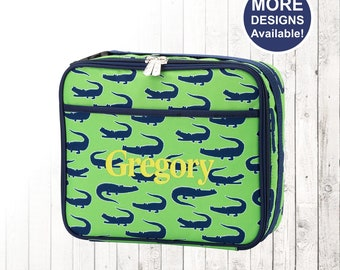 Personalized Green Alligator Lunchbox and Optional Matching Backpack with embroidered Name or Monogram, Elementary & Middle School