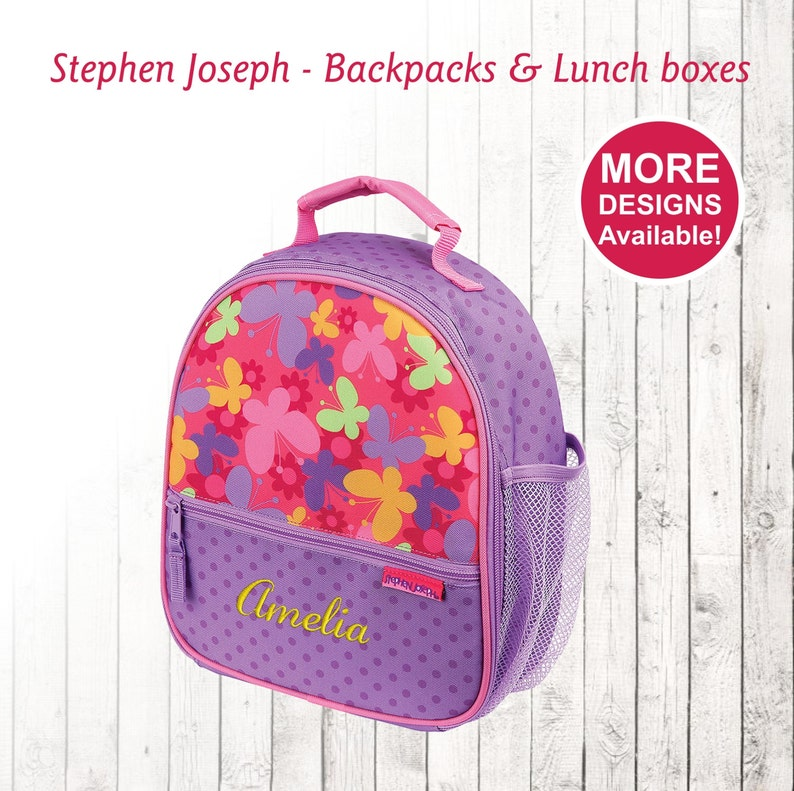 8aea6e2e0d71 Personalized Butterfly Lunch box for Girl, Stephen Joseph Lunch Box,  Embroidered Childrens Lunch Box, Monogram Lunchbox, Butterfly lunch bag