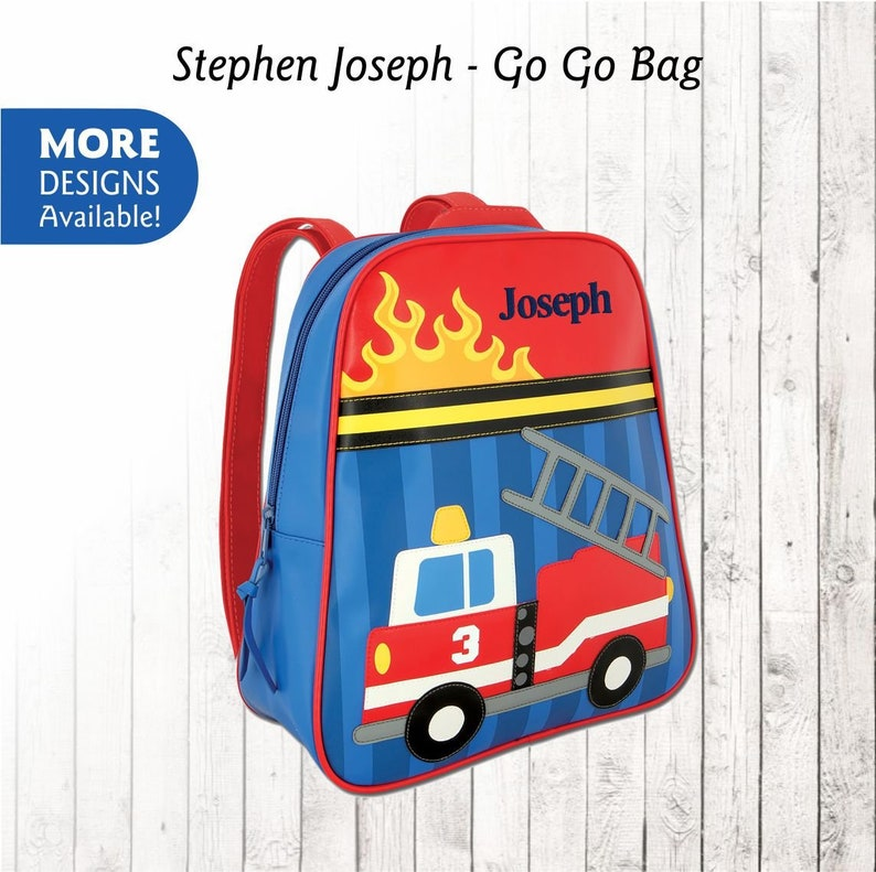 0a857fe8d87 Personalized Fire Truck Backpack Stephen Joseph Go Go