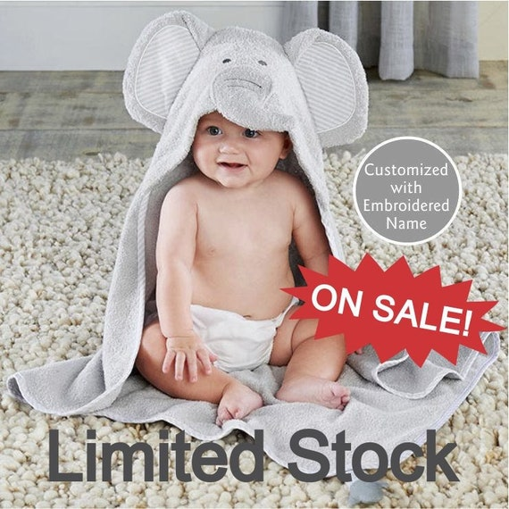 513b9df6f CLOSE OUT Girls Elephant Hooded Towel, Personalized with Name, Baby Girl  Towel, Terry Cloth Bath Robe For baby, Elephant Plush Baby Socks
