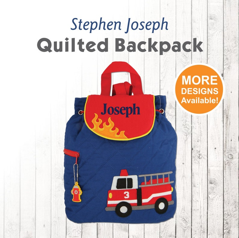 Personalized Fire Truck Backpack with embroidered