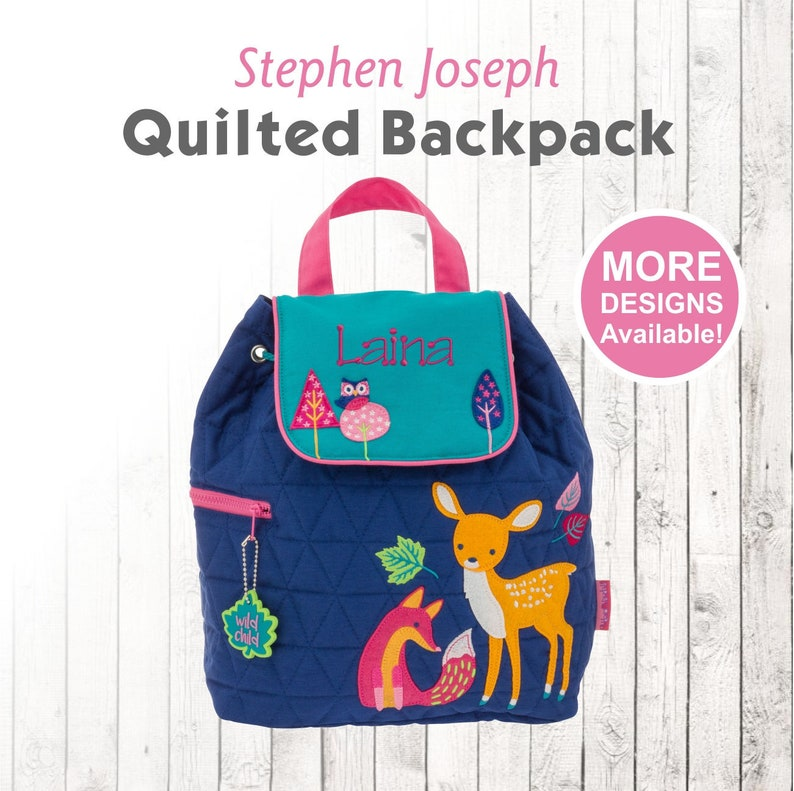 cbbffd58619d Personalized Woodland Animals Children's Quilted Backpack with Embroidered  kids Name, Stephen Joseph Brand Backpack
