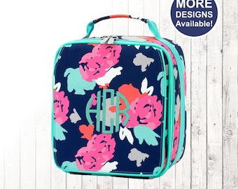 Personalized Floral Lunchbox and Optional Matching Backpack with embroidered Name or Monogram, Elementary & Middle School