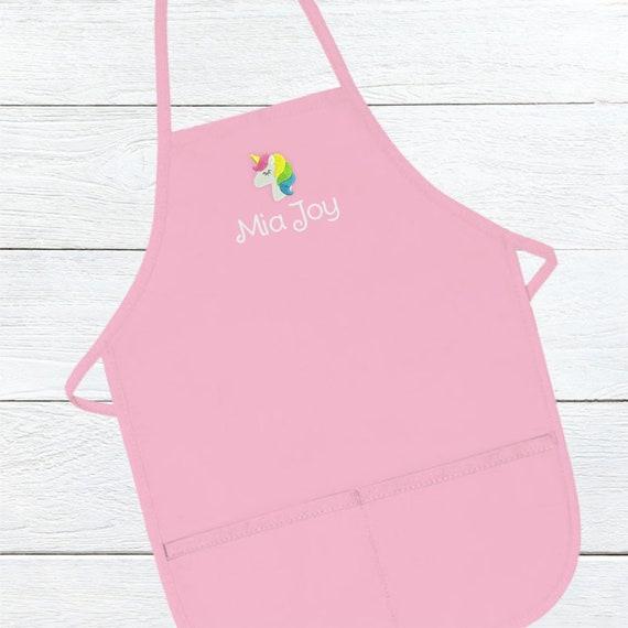 Personalized Unicorn Apron for Kids Custom Kids Apron Embroidered kids apron
