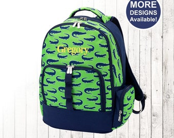 Personalized Boys Green Alligator Backpack and Optional Matching Lunch Box with embroidered Name or Monogram, Elementary & Middle School