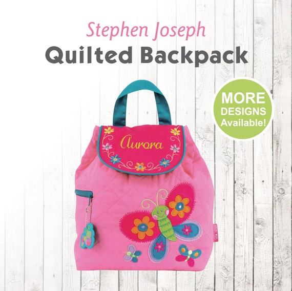 59ddd850c94c Personalized Butterfly kids Backpack with embroidered name, Stephen Joseph  Quilted Backpack