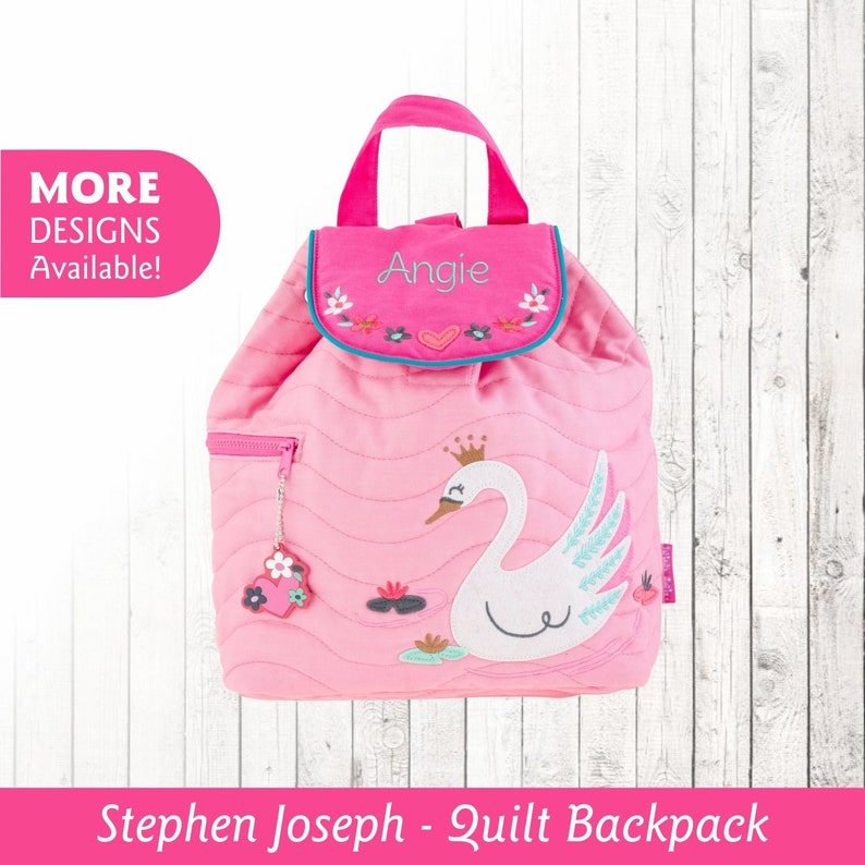 1de263d31e6a Personalized Children's Swan Backpack, Stephen Joseph Quilted Backpack,  Toddler Backpack with Embroidered Name