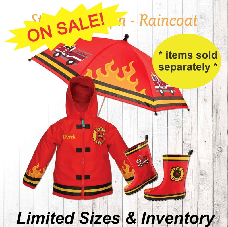 3426c17fb CLOSE OUT Fireman Raincoat Personalized Kids Fire fighter