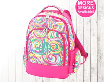 Personalized Girls Rainbow Swirl Backpack and Optional Matching Lunch Box with embroidered Name or Monogram, Elementary & Middle School