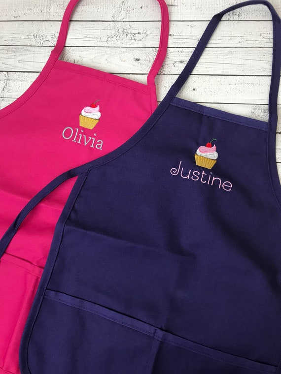 Custom Kids Apron Personalized Cupcake Apron for Kids Embroidered kids apron