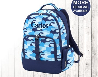 Personalized Boys Blue Camo Backpack and Optional Matching Lunch Box with embroidered Name or Monogram, Elementary &  Middle School Backpack