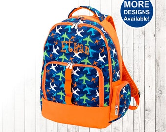 Personalized Boys Airplane Backpack and Optional Matching Lunch Box with embroidered Name or Monogram, Elementary & Middle School,