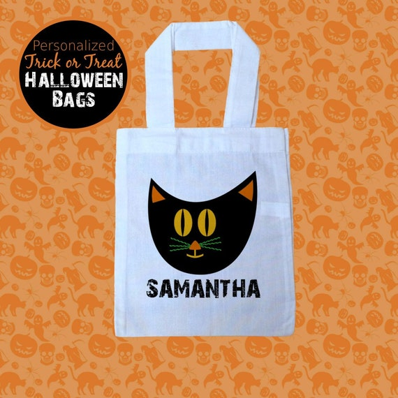 Halloween Trick Or Treat Bags Personalized.Halloween Trick Or Treat Bag Black Cat Bag Personalized Trick Or Treat Bag Halloween Tote Halloween Black Cat