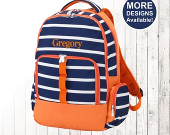 Personalized Backpack and Optional Matching Lunch Box with embroidered Name or Monogram, Elementary & Middle School Backpack, Blue Stripe