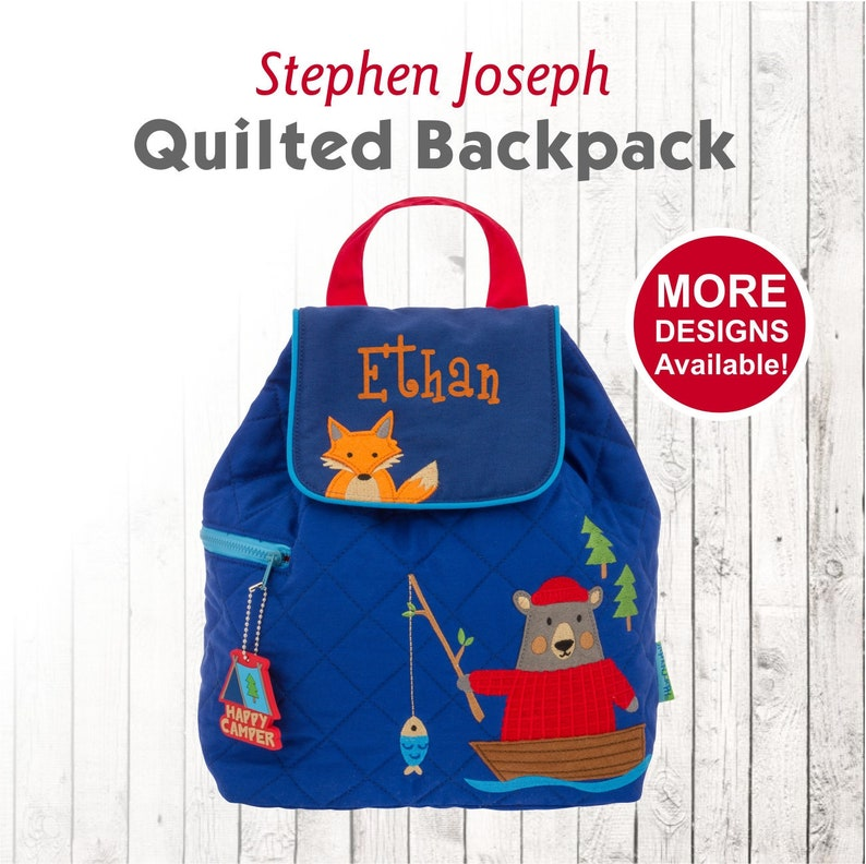 e88d35725d97 Personalized Fishing Bear Children's Quilted Backpack with Embroidered kids  Name, Stephen Joseph Toddler backpack fox outdoors