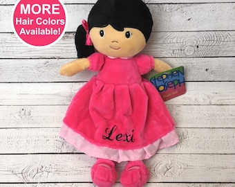Personalized Plush Doll, Stephen Joseph Personalized Doll, Rag Doll, Personalized Doll for Baby, Baby Shower Gift, Baby Girl Gift, Christmas