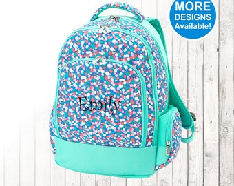 Personalized Girls Confetti Polka Dot Backpack and Optional Matching Lunch Box with embroidered Name or Monogram, Elementary & Middle School