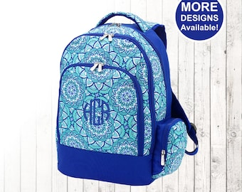 Personalized Girls Mandala Flower Backpack and Optional Matching Lunch Box with embroidered Name or Monogram, Elementary & Middle School