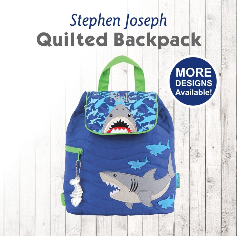9a413d544573 Personalized SHARK Backpack with Embroidered Name for Kids, Stephen Joseph  Backpack, Monogrammed backpack for Toddler, Shark Bag