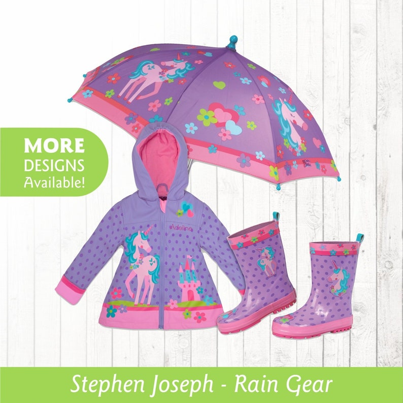 4ed466bcb Unicorn Raincoat Personalized Kids Unicorn Theme Rain Gear Unicorn Rain  boots Unicorn Umbrella Kids rain coat Kids rain jacket Unicorn boot