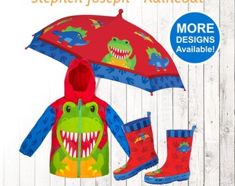 Dinosaur Raincoat Personalized Kids Dinosaur Rain Gear Kid's Dinosaur Rain boots Dinosaur Umbrella Dino rain coat Personalized Rain Coat