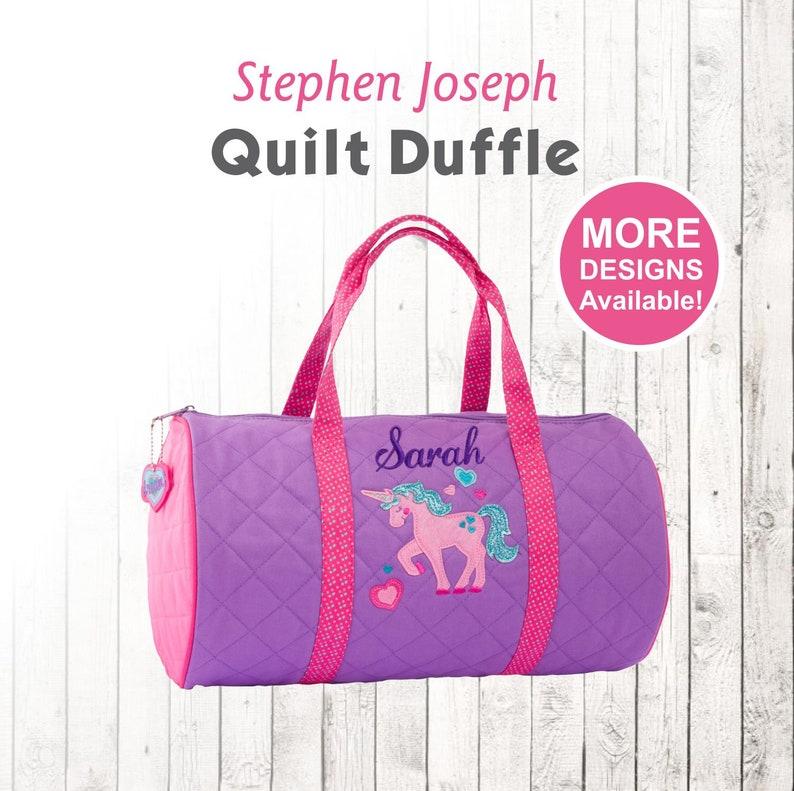 dc2b7288c Personalized Unicorn Duffle Bag Stephen Joseph Quilt Duffel