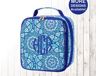 Personalized Blue Lunchbox and Optional Matching Backpack with embroidered Name or Monogram, Elementary & Middle School