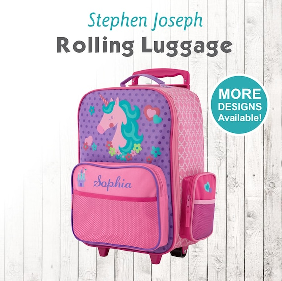 cfc3822d8664 Unicorn Rolling Luggage, Stephen Joseph Kids Luggage, Personalized  Children's Suitcase, Embroidered Name, Travel Suitcase for kids, Unicorn