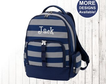 Personalized Boys Navy Stripe Backpack and Optional Matching Lunch Box with embroidered Name or Monogram, Elementary & Middle School