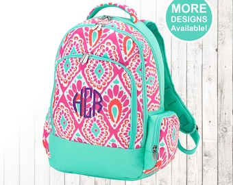 Personalized Girls Backpack with embroidered Name or Monogram, Hot Pink and Mint Pattern, Elementary School &  Middle School Backpack
