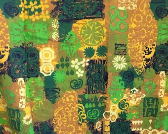 """midcentury modern fabric, vintage fabric, green and gold fabric, 44"""" by 70"""""""