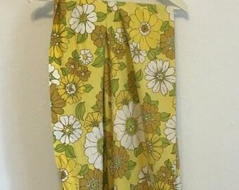 Vintage Bed Sheet, yellow, brown, green white mod floral pattern