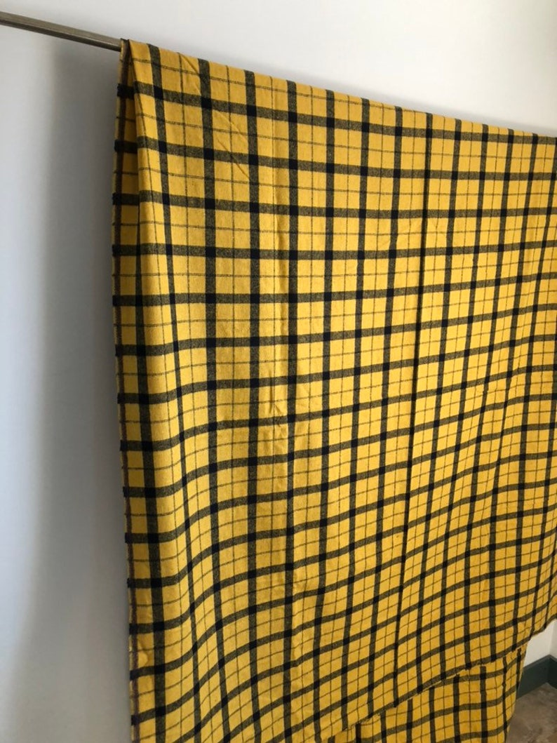 vintage fabric 3.7 yards thick plaid fabric 62 wide by 136 yellow and navyblack
