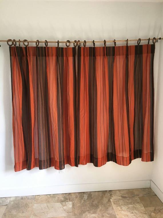 Rideaux Vintage Vintage rideaux rideaux de maille Orange et | Etsy