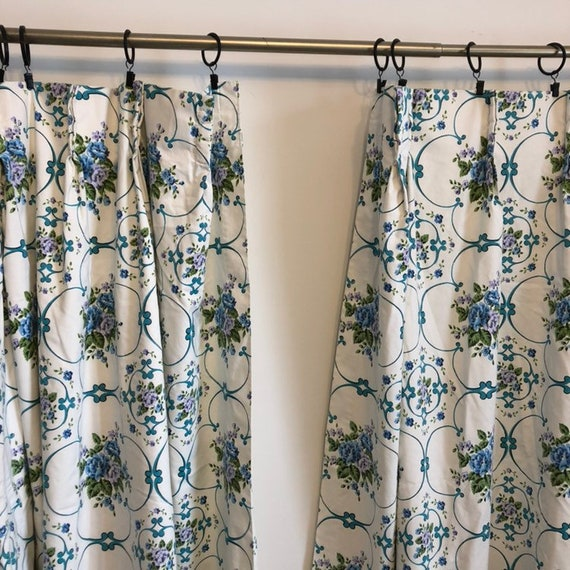 vintage white curtains | blue green florals | pair | 49 inches by 45 inches  | short curtains | kitchen curtains