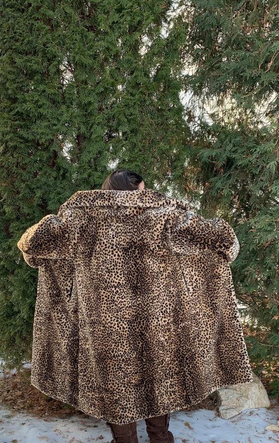 vintage faux fur leopard coat, monterey fashions,