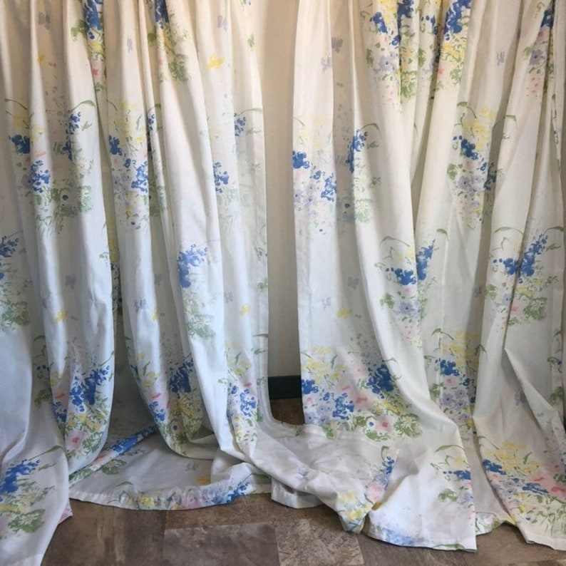 Curtains 92 Inches Long.Vintage White Floral Curtains Long Wide Curtains White Drapery Floral Drapes 74 Inches By 92 Inches Curtain Pair