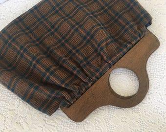 vintage hand bag, knitting bag, wool purse, wood handles, plaid purse, plaid handbag